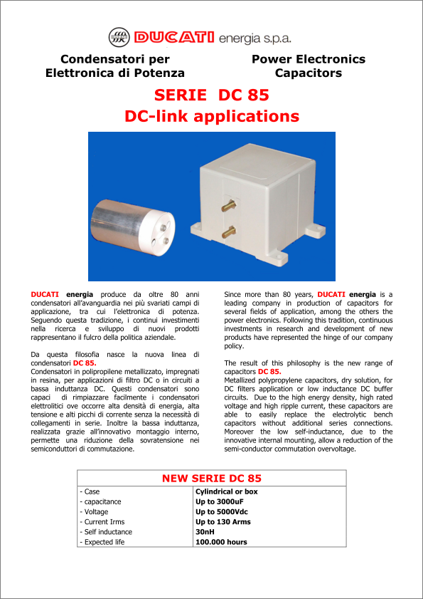 Ducati 85 Series capacitors product brief