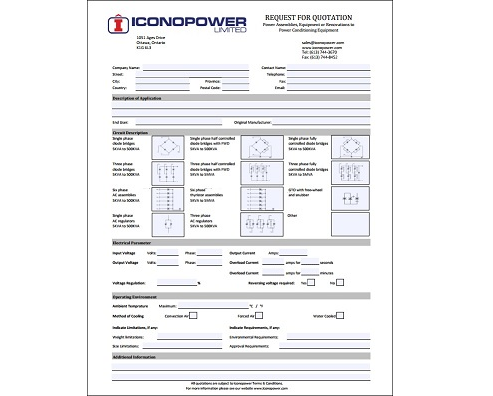Request for custom power assembly form